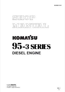 komatsu s4d95le-3, saa4d95le-3, 95-3 series diesel engine shop manual sebm031001 english
