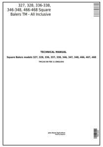 instant download john deere 327,328,336, 337, 338,346, 347, 348, 466, 467, 468 square balers technical service manual tm1243