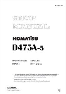 komatsu d475a-5 20001 and up crawler bulldozer shop manual sebm033708 english