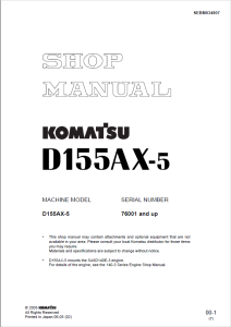 komatsu d155ax-5 76001 and up crawler bulldozer shop manual sebm034807 english