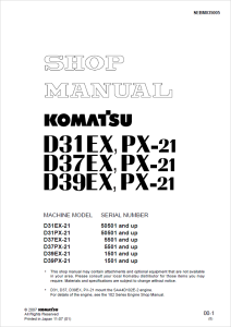 komatsu d31ex-21, d31px-21, d37ex-21, d37px-21, d39ex-21, d39px-21 50501 and up, 5501 and up, 1501 and up crawler bulldozer shop manual sebm035005 english