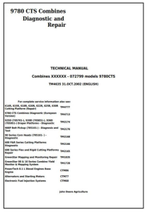 instant download john deere 9780 cts combines (sn. 000001 - 072799) diagnostic and repair technical manual (tm4635)
