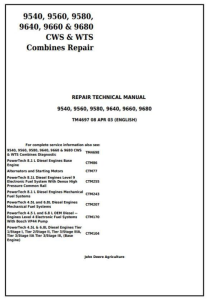 instant download john deere 9540, 9560, 9580, 9640, 9660, 9680 cws/wts combine service repair technical manual (tm4697)