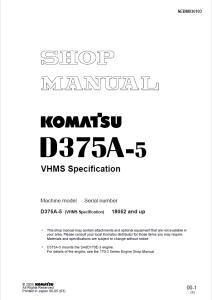 komatsu d375a-5 (vhms specification) 18052 and up crawler bulldozer shop manual sebm036103 english