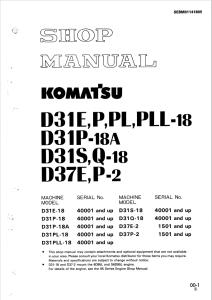 komatsu d31e-18, d31p-18, d31p-18a, d31pl-18, d31pll-18, d31s-18, d31q-18, d37e-2, d37p-2 40001 and up, 1501 and up crawler bulldozer shop manual sebm01141805 english