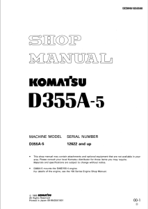 komatsu d355a-5 12622 and up crawler bulldozer shop manual sebm01950508 english