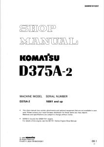 komatsu d375a-2 16001 and up crawler bulldozer shop manual sebm01970207 english