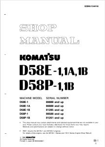 komatsu d58e-1, d58e-1a, d58e-1b, d58p-1, d58p-1b 80888 and up, 81285 and up, 80588 and up, 81261 and up crawler bulldozer shop manual sebmu1340106 english