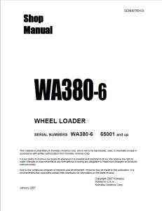 komatsu wa380-6 (ka spec.) 65001 and up wheel loader shop manual sen00769-03 english