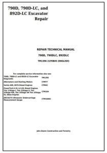 instant download john deere 790d, 790d-lc, and 892d-lc excavator service repair technical manual (tm1396)
