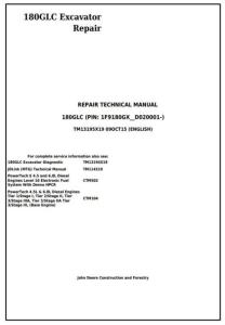 instant download john deere 180glc (pin: 1f9180gx__d020001-) excavator service repair technical manual (tm13195x19)