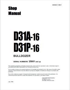 komatsu d31a-16, d31p-16 25001 and up crawler bulldozer shop manual sebm0114b01 english
