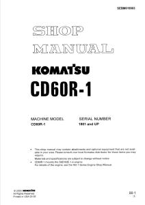 komatsu cd60r-1 1801 and up crawler carrier shop manual sebm019903 english
