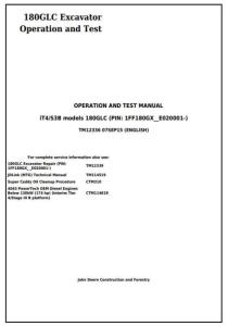 instant download john deere 180glc (pin:1ff180gx__e020001-) it4/s3b excavator operation, test service manual (tm12336)