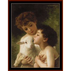 children with lamb - bouguereau cross stitch pattern by cross stitch collectibles