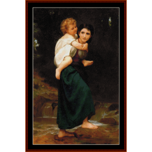 crossing the ford- bouguereau cross stitch pattern by cross stitch collectibles