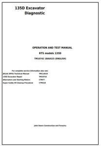 instant download john deere 135d rts excavator diagnostic, operation and test service manual (tm10742)