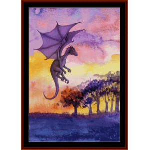 flying dragon - fantasy cross stitch pattern by cross stitch collectibles