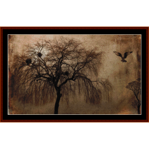 eerie landscape - fantasy cross stitch pattern by cross stitch collectibles