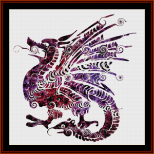 fire breating dragon - fantasy cross stitch pattern by cross stitch collectibles