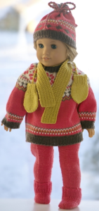 dollknittingpattern  0204d elisabeth - sweater to american girl doll,  genser til baby born, sweater to baby born, pants, cap, shoes, scarf and mittens-(english)