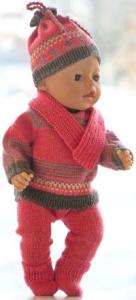 dollknittingpatterns 0204d elisabeth - sweater  voor american girl doll, sweater voor baby born, broek, muts, schoentjes, sjaal en wantjes-(nederlands)