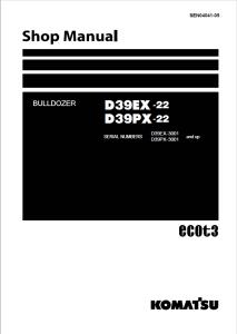 komatsu d39ex-22, d39px-22 3001 and up crawler bulldozer shop manual sen04041-05 english
