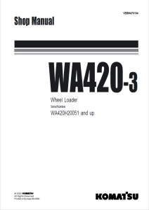 komatsu wa420-3 wa420h20051 and up wheel loader shop manual vebm470104 english