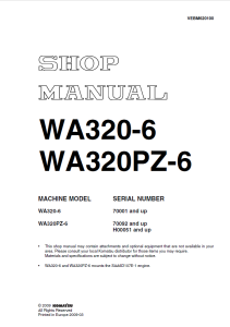 komatsu wa320-6, wa320pz-6 70001 and up, 70092 and up, h00051 and up wheel loader shop manual vebm620100 english