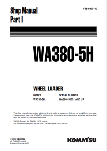 komatsu wa380-5h wa380h50051 and up wheel loader shop manual (part i) vebm920100 english