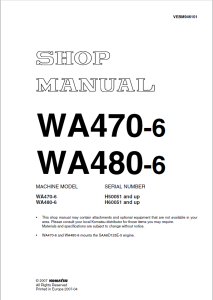 komatsu wa470-6, wa480-6 h50051 and up, h60051 and up wheel loader shop manual vebm946101 english