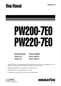 komatsu pw200-7e0, pw220-7e0 h55051 and up, h65051 and up wheeled excavator shop manual vebm949100 english