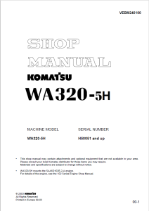 komatsu wa320-5h h50051 and up wheel loader shop manual vebm240100 english