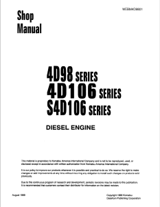 komatsu 4d98, 4d106, s4d106, 4tne94, 4tne98, 4tne106, 4tne106t series diesel engine shop manual webm4d9801 english
