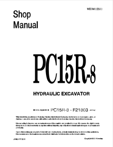 komatsu pc15r-8 f21803 and up hydraulic excavator shop manual webm002800 english