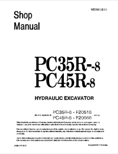 komatsu pc35r-8, pc45r-8 f20518 and up, f20666 and up hydraulic excavator shop manual webm003000 english