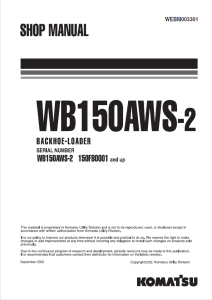 komatsu wb150aws-2 150f80001 and up backhoe loader shop manual webm003301 english