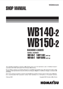 Komatsu WB140-2, WB150-2 140F11451 and up, 150F10293 and up Backhoe Loader Shop Manual WEBM004200 English | eBooks | Automotive