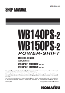 komatsu wb140ps-2, wb150ps-2 power shift 140f50092 and up, 150f50020 and up backhoe loader shop manual webm004300 english
