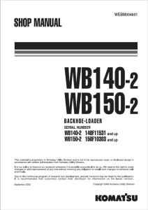 komatsu wb140-2, wb150-2 140f11531 and up, 150f10303 and up backhoe loader shop manual webm004601 english