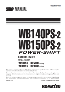 komatsu wb140ps-2, wb150ps-2 power shift 140f50098 and up, 150f50032 and up backhoe loader shop manual webm004700 english