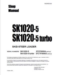 komatsu sk1020-5, sk1020-5 turbo 37cf00004 and up, 37ctf00003 and up skid steer loader shop manual webm005300 english
