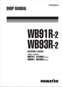 Komatsu WB91R-2, WB93R-2 91F20001 and up, 93F20001 and up Backhoe Loader Shop Manual WEBM000400 English | eBooks | Automotive