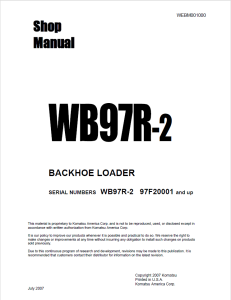 komatsu wb97r-2 97f20001 and up backhoe loader shop manual webm001000 english
