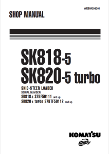 komatsu sk818-5, sk820-5 turbo 37bf50111 and up, 37btf50112 and up skid steer loader shop manual webm005001 english