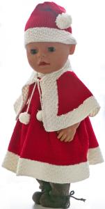 dollknittingpatterns 0205d sanne - julekjole, nisselue, truse, cape og sko(norsk)