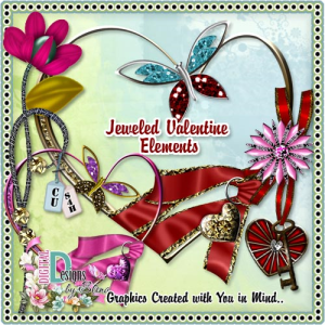 jeweled valentine element set