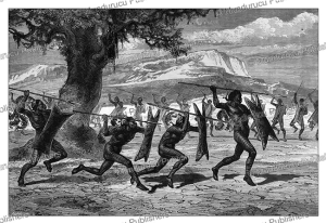 war dance of the obbo tribe, south sudan, alphonse de neuville, 1867