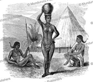 obbo women of eastern equatoria or south sudan, samuel baker, 1866