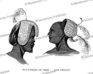 head-dress of the obbo and shoggo people of eastern equatoria or south sudan, samuel baker, 1866